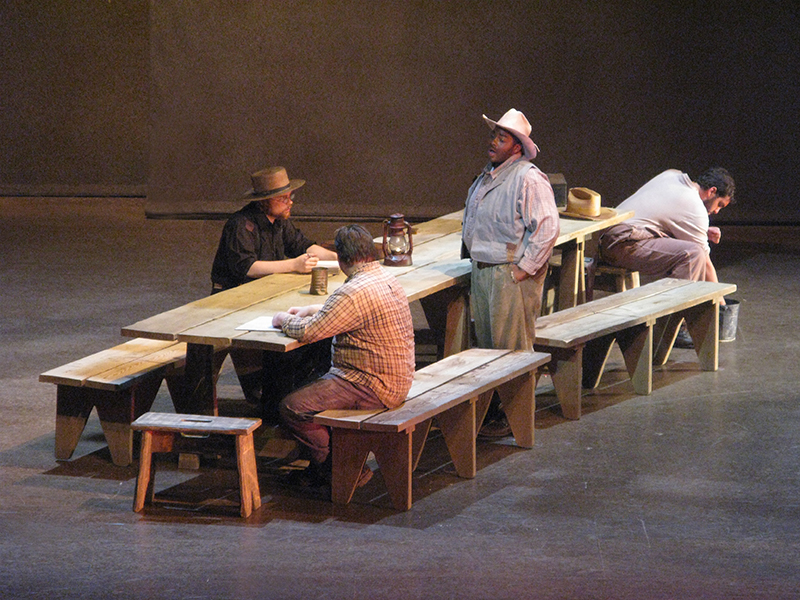 how steinbeck set the scenery Steinbeck wrote of mice and men in a play format, using a circular pattern of   exits by characters and, at the beginning of each scene, the setting descriptions.